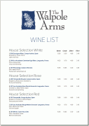 The Walpole Arms Wine list